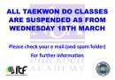 ALL CLASSES SUSPENDED AS FROM WEDNESDAY 18TH MARCH